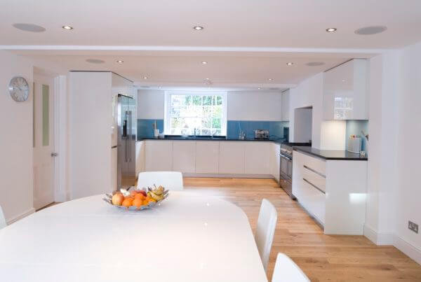 Spacious kitchen and bright downlights styled by Absolute Project Management