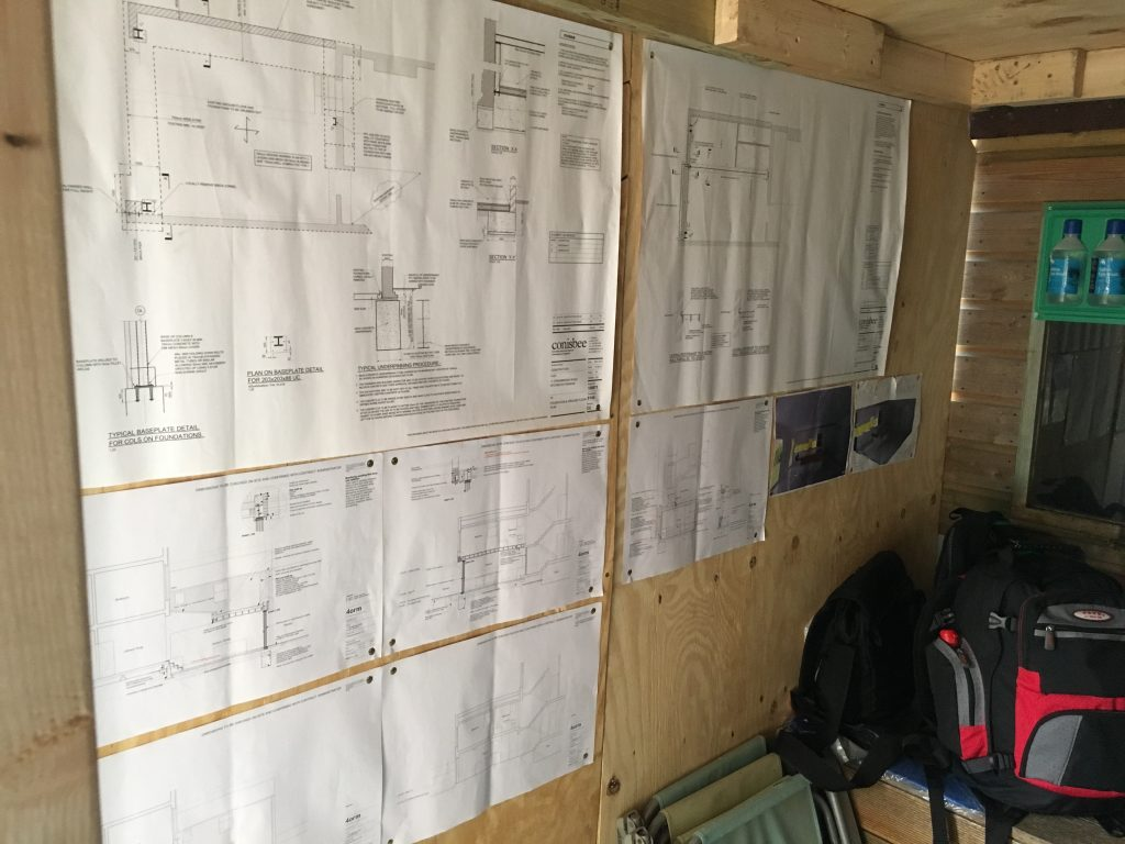 Planning docs and structural drawings on site in the contractors shed on site in Islington.