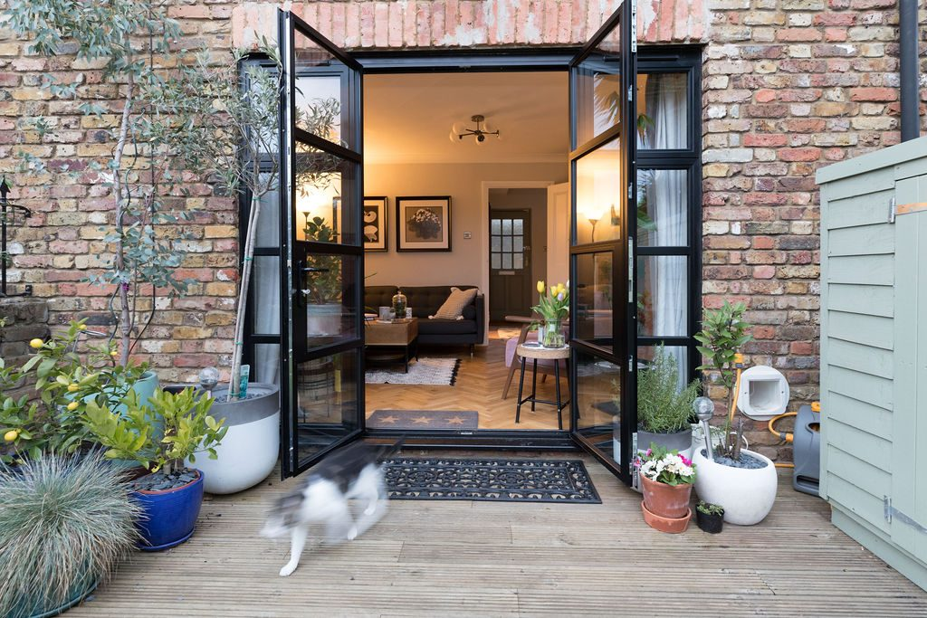 An exciting garden with glass black framed doors and fresh plants styled by Absolute Project Management