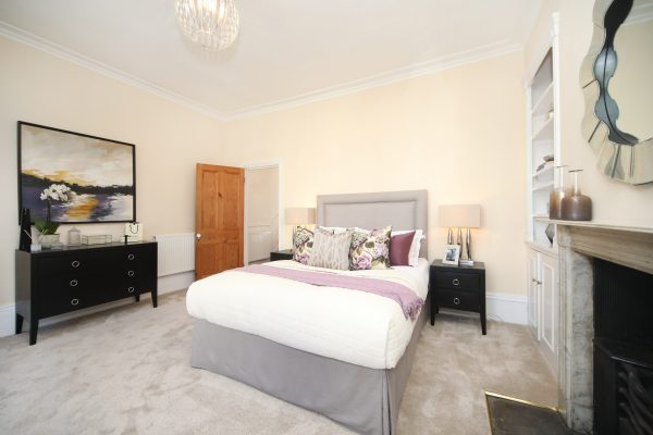 Modern bedroom with complementing colours styled by Absolute Project Management