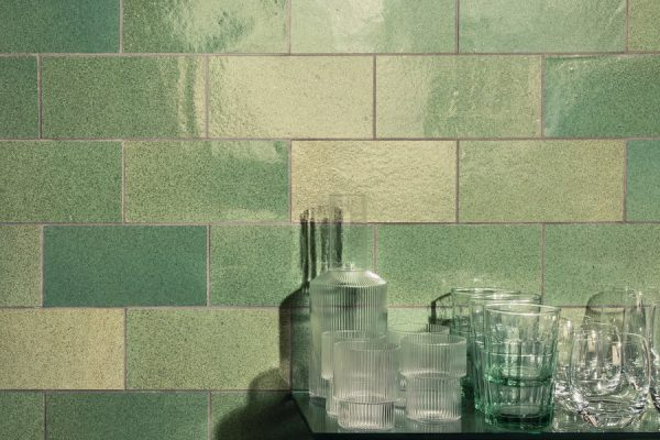 Tiles made with recycled glass and ceramics