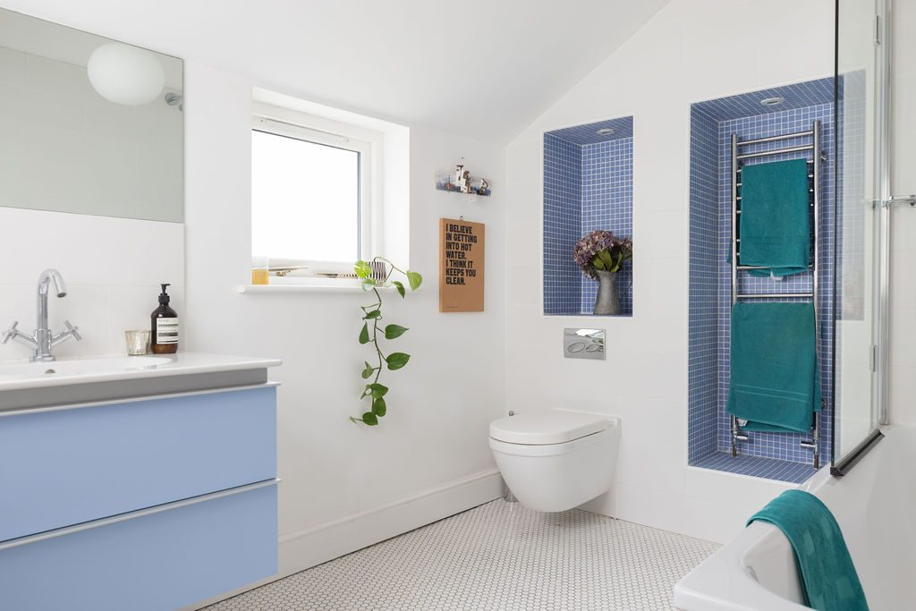 Modern Bathroom and blue tiles styled by Absolute Project Mangement