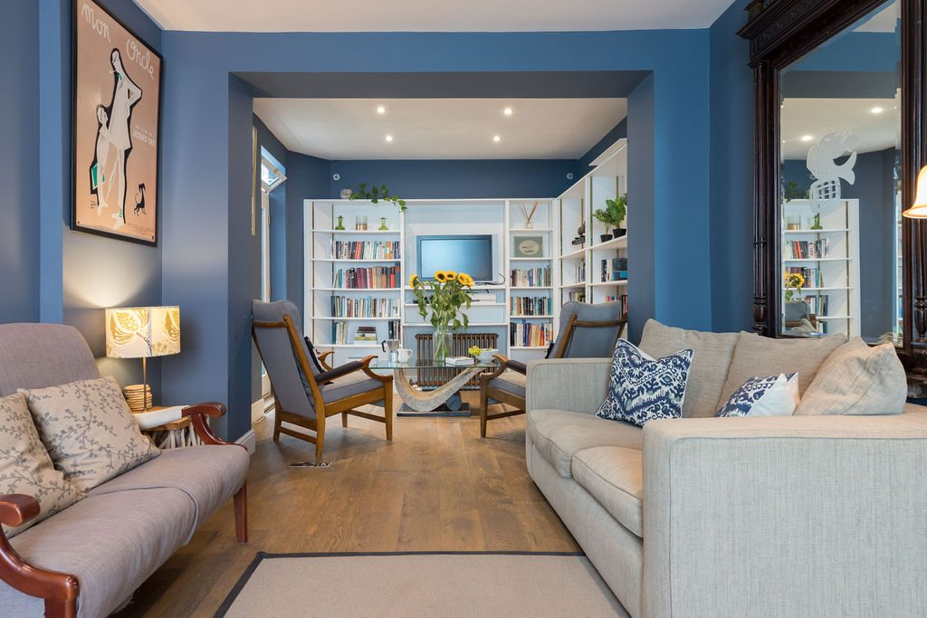 Beautiful blue living room in Kemptown styled by Absolute Project Management