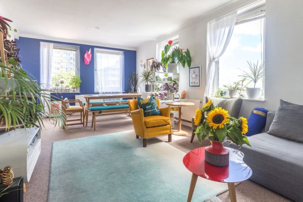 Brightly coloured living and dining room in Hove styled by Absolute Project Management