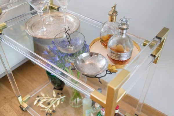 Bar Cart styled by Absolute Project Management with stunning accessories