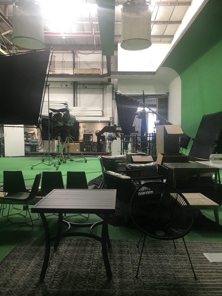 props set up inside film studio