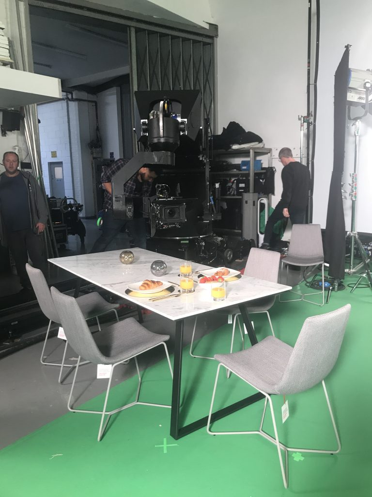 dining table set in a film studio