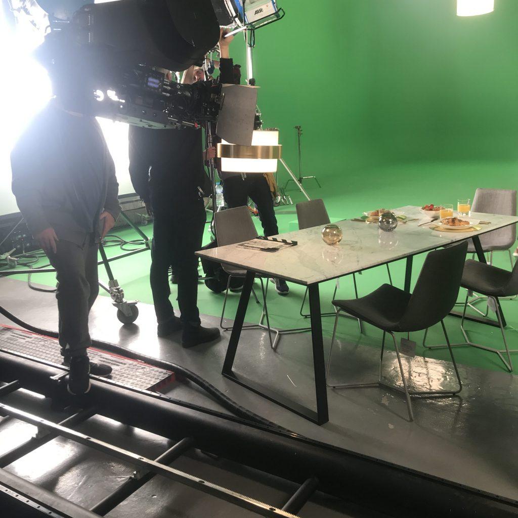 Camera rig and tracks in film studio