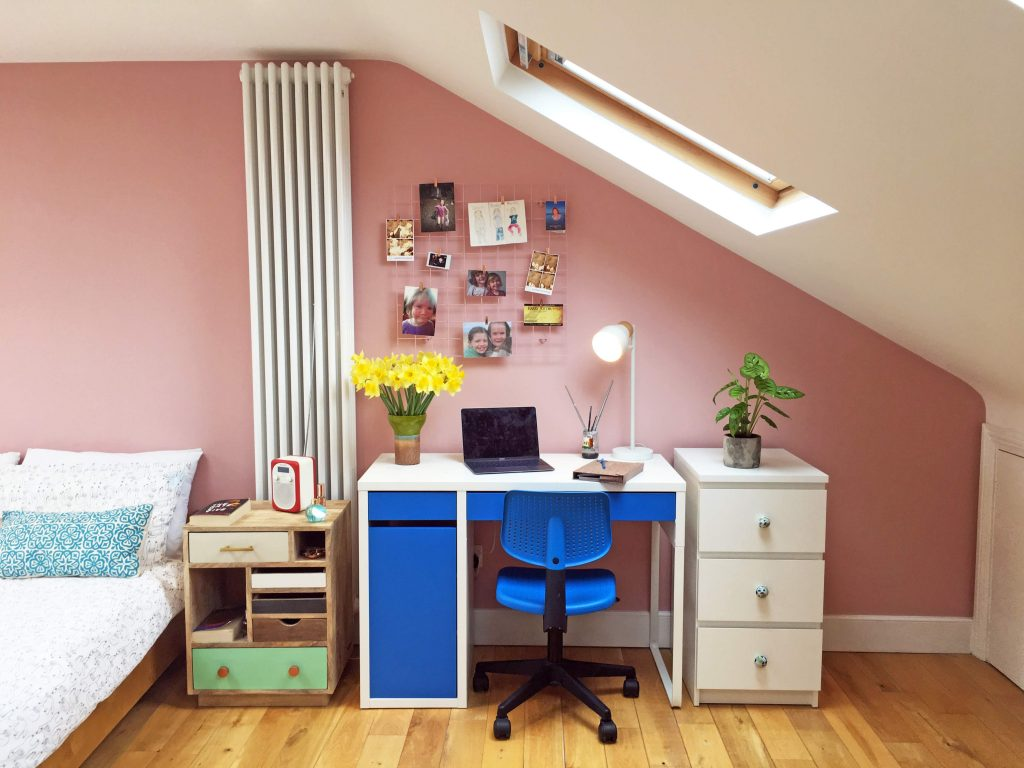Millenial pink teenage bedroom with blue and white desk, designed by Absolute Project Management