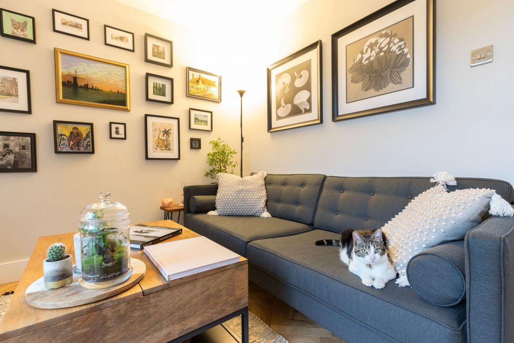 Cosy Living room and great photos hanged on the walls styled by Absolute Project Management