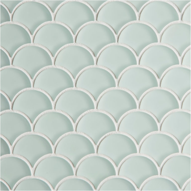 Pale green Scallop shaped glass tiles by Mandarin Stone