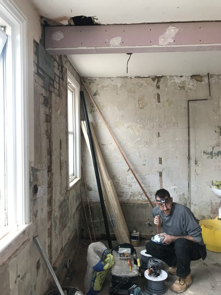 electrician setting up for 1st fix electrics