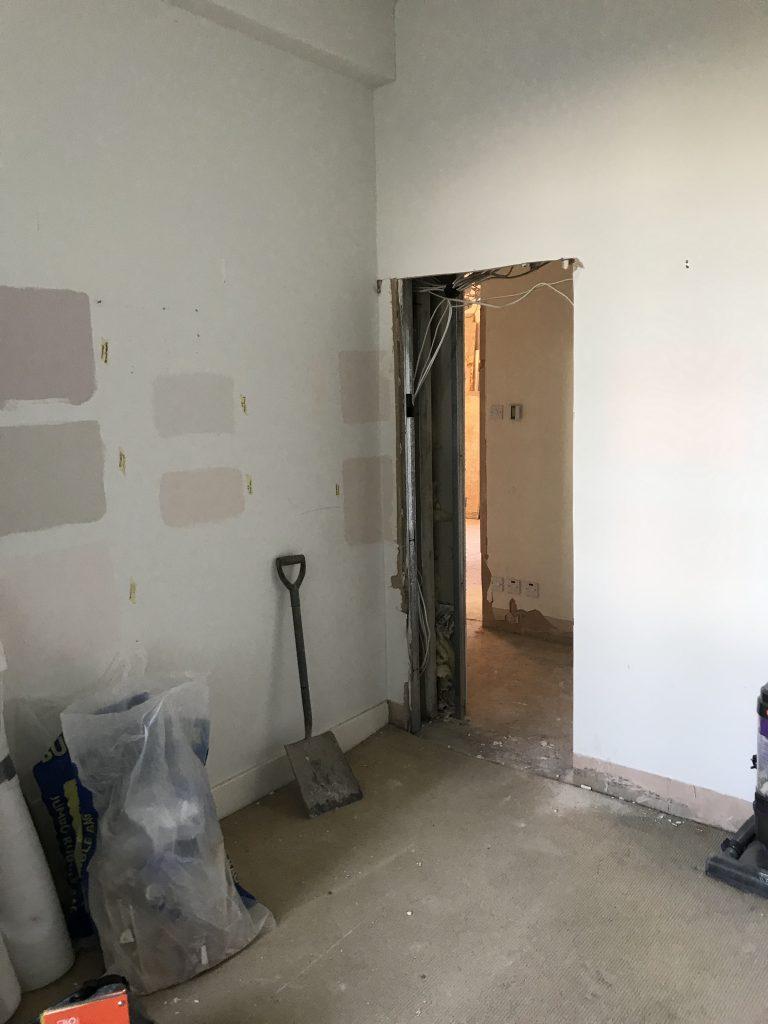 New doorway in wall on building site