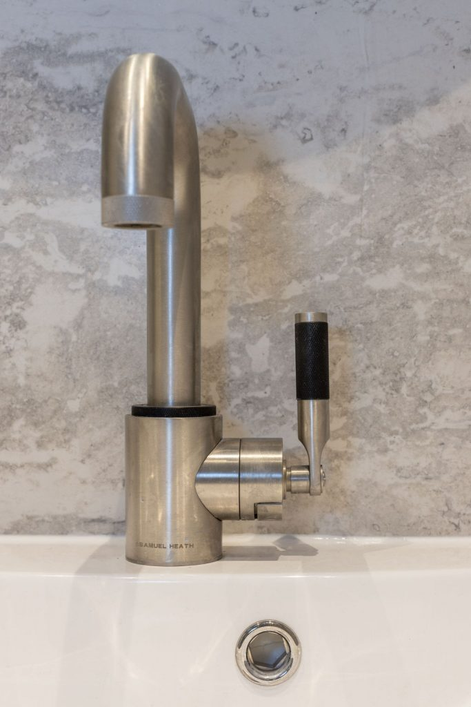 Samuel Heath landmark tap in modern bathroom designed by Absolute Project Management