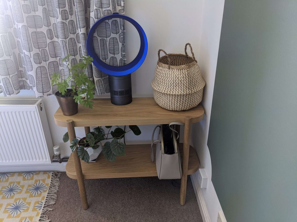 Console table with plants, fan and basket in flat in Hove
