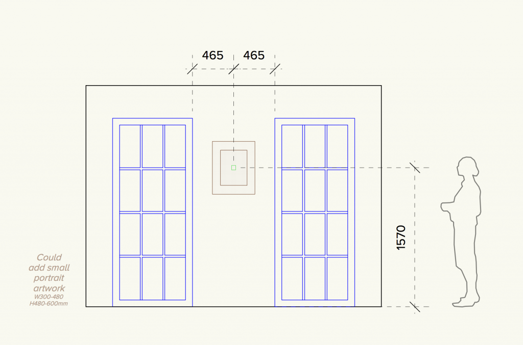 Diagram showing how to hang a small artwork at eye level - by Absolute Project Management