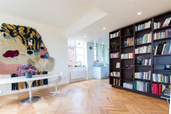 Parquet flooring living space. Renovation by Absolute Project Management.